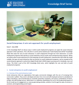 Knowledge Brief Issue 5: Social Enterprises: A Win-Win Approach for Youth Employment